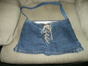 Purse made from recycled jeans